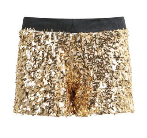Shorts de lentejuelas doradas