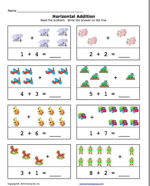 Pre-K Addition Worksheets | Click here: add1-10.pdf to ...