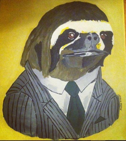 Business Sloth acrylic paint