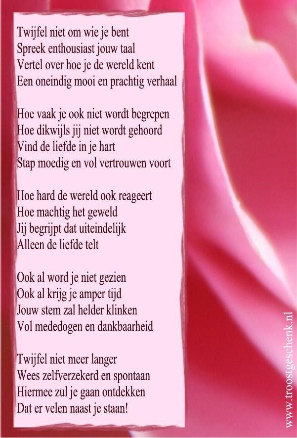 Gedicht Twijfel niet om wie je bent www.troostgeschenk.nl