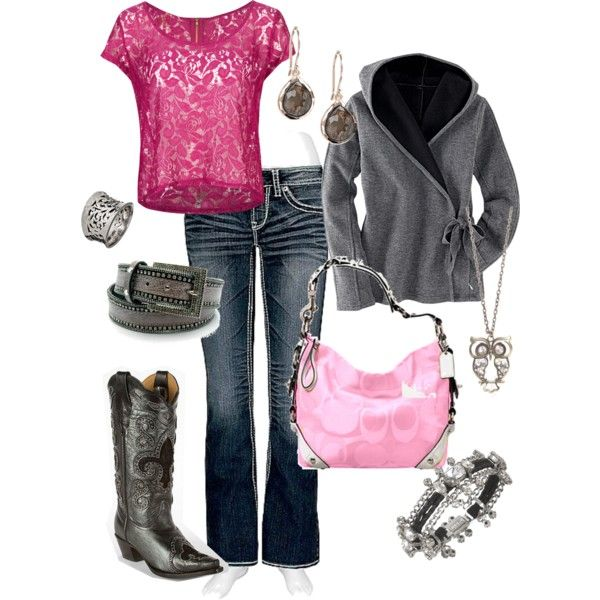 I absolutly adore the lacy top. Wear with jeans, cowboy boots, and silver jewelery. This outfit has a pink bag but i think that brown or black would work better with a brown or black jacket.