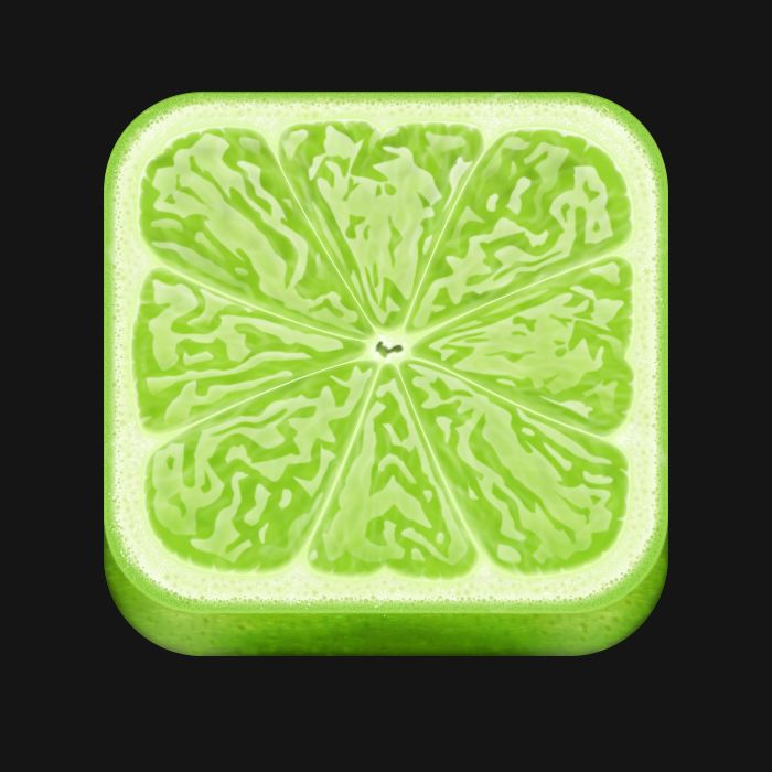 Lime Icon-This is a refreshing little icon of a lime is again quite real to life. The creator has managed to truly capture the lime adding the reflections in all the right places to give the idea of the fruits natural juices. Its interesting that they made it a square but it works for an icon.