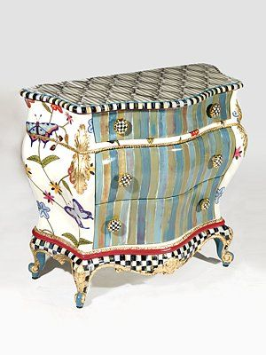MacKenzie-Childs  Butterfly Large Chest  A charming, exuberantly handpainted chest features bursts of colorful stripes and a crewel-inspired pattern of butte...  $4950.00 Love this but the price kills