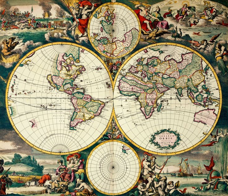 Four Hemisphere World Map. Image taken from Nova Totius Terrarum Orbis. Originally published/produced in Amsterdam, 1668.