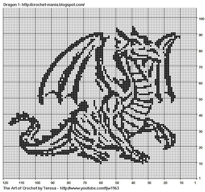 Free Dragon Cross Stitch Patterns | dragon1 (700x656, 187Kb)