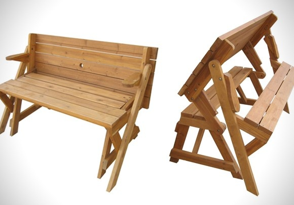 Foldable picnic table turns into a garden bench has - Folding picnic table plans free ...