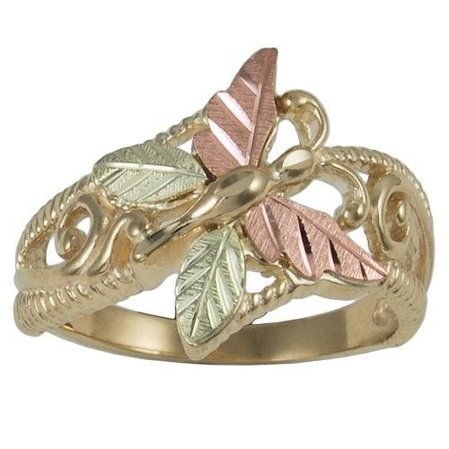 Women S Fashion Jewelry Black Hills Gold Butterfly Ring