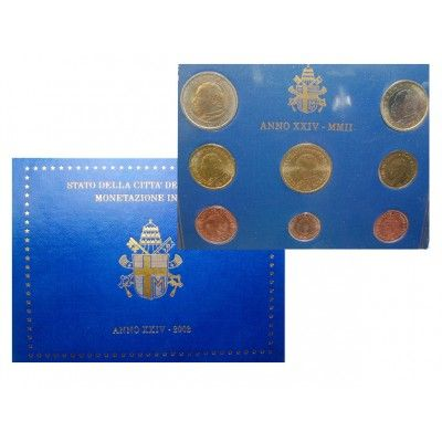 Vatikan, Johannes Paul II., Euro-Kursmünzensatz 2002, st: Johannes Paul II. 1978-2005. Euro-Kursmünzensatz 2002. 8 Münzen - 1 Cent… #coins