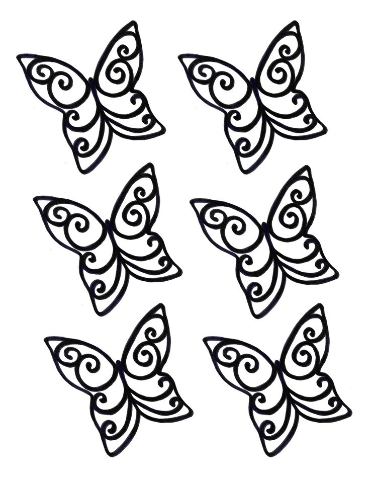 This is a stencil that you can use to make your own chocolate butterflies.  Just print out then place a piece of parchment paper or wax paper over top.  Pour tempered chocolate into a small decorating bag with small tip. Then trace the butterfly, let chocolate set up then use on anything that you want to add a decorate touch too. Cakes, cupcakes, ice cream, chocolate mousse, etc....