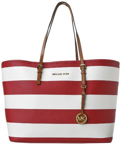 Michael Kors Women\u0027s Jet Set Medium Striped Saffiano Travel Tote,  Red/White, One