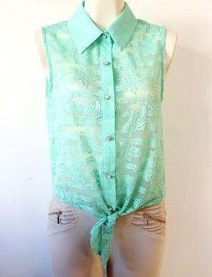 #Camisa #mint de encaje con amarre al frente