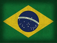 Brazil Flag Art - Brazil Flag Vintage Distressed Finish by Design Turnpike