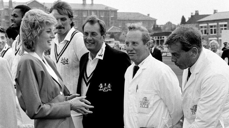Sep 08, 1989: Umpire Dickie Bird shows off his socks and thermals to Princess Diana. Gloucestershire v Somerset, County Championship, 1st day, Bristol,© PA Photos..