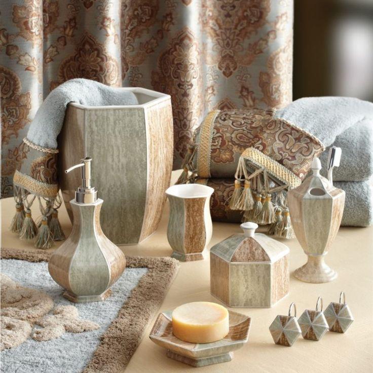 crystal bathroom accessories sets%0A Croscill Laviano Aqua Bath Collection  marbled aqua and taupe bath  accessories