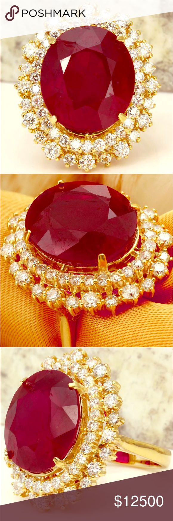 A Red Ruby Collection Masterpiece  On Sale!!! This Is A Breathtaking  Gemstone GIA Rated As Museum Quality At A Whoping 19.96 Cts Just Under A 20Ct It is A Ring Most People Would Never Be Aloud To Enjoy But That's Where We Come In This Was Actually Cast Off By Some Idiotic Heirs During An Auction So Will Many Items From That Same Estate Sale In The Coming Future  If You Are A Serious Buyer Please Don't Hesitate To Call Our Large Jewels Concierge At 616-690-9205 Between the Hours Of 9:00 To 9…
