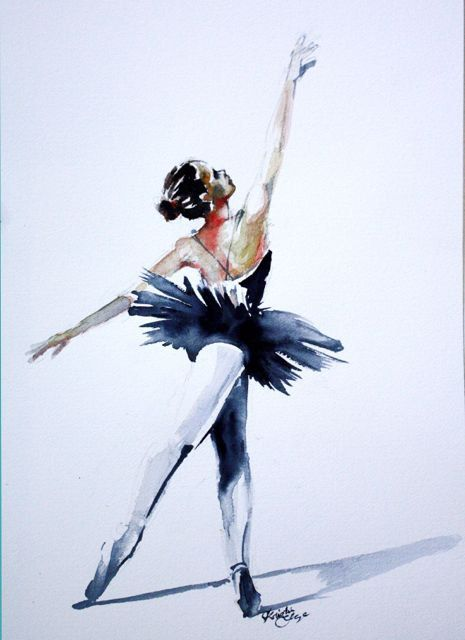 "Original Watercolor Prints of Ballerina Paintings CARDS 5""X7"" Set of 5 with Envelopes by Kristin Glaze van Lieshout"