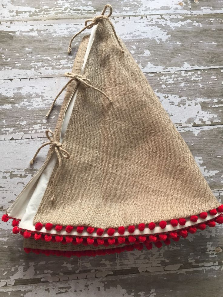 burlap christmas tree skirt with red pom pom fringe 56 inch diameter - Small Christmas Tree Skirts