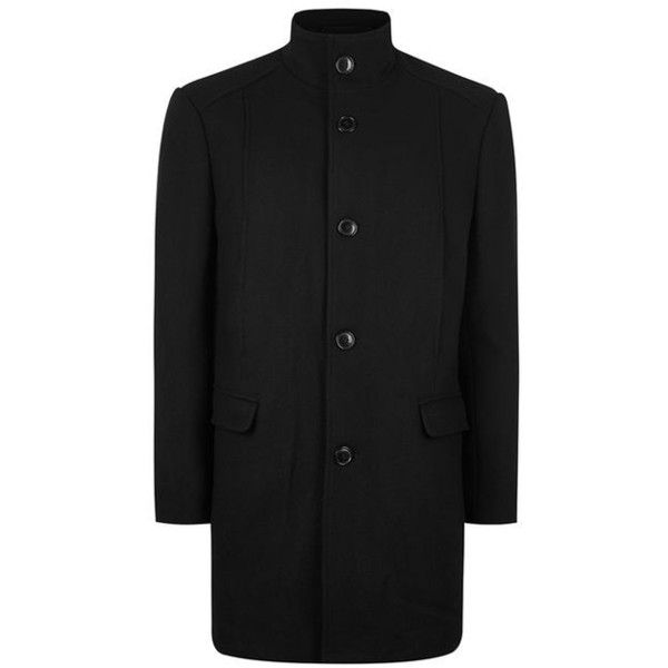 TOPMAN Selected Homme Black Wool Coat ($195) ❤ liked on Polyvore featuring men's fashion, men's clothing, men's outerwear, men's coats, mens wool coats, mens wool outerwear, mens single breasted wool coat, mens single breasted pea coat and topman mens coats