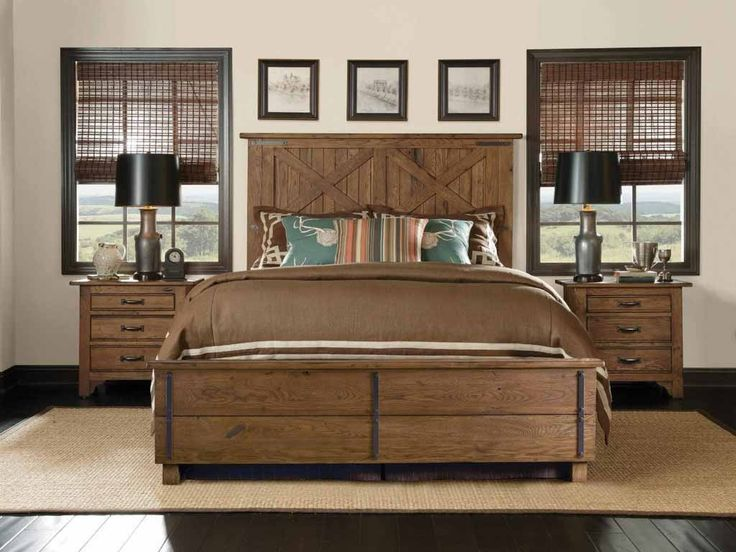 Wood Bed Frame With Headboard Solid Wood Bedroom Furniture Black Lampshades On Nightstand Above Wooden Flooring