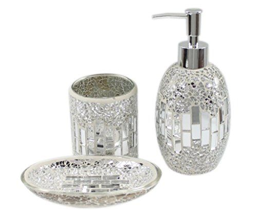 Chic At Home 3 Piece Modern Silver Chrome Sparkle Mosaic Glass Tile Bathroom  Accessory Set Stunning