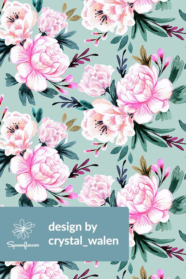 Hand Painted Fl Pattern By Crystal Walen On Fabric Wallpaper And Gift Wrap Lush Watercolor Fls In Pink Green Emerald Peach