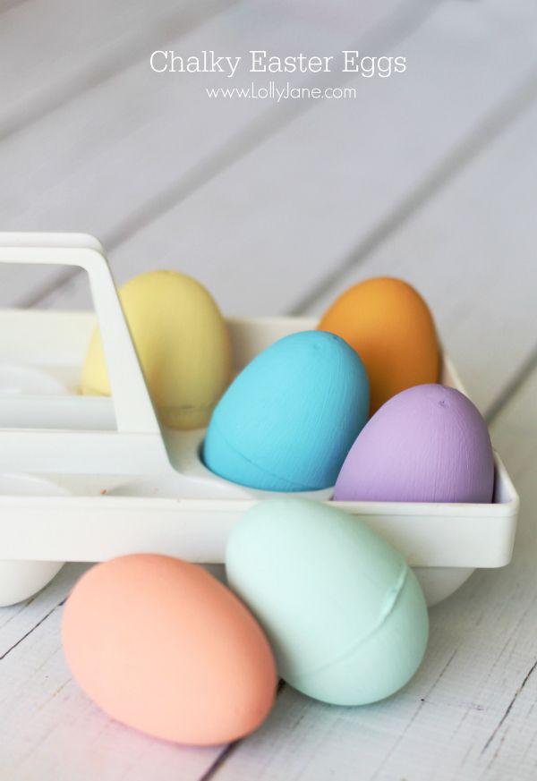 Chalky Easter Eggs, a fun, colorful tutorial! So easy! @Lauren Davison Jane Jane {lollyjane.com}