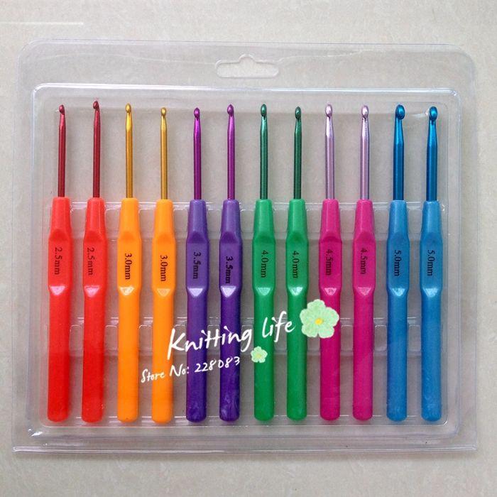 12 Шт./компл. 6 Размеры 2.5-5.0 мм Разноцветные Пластиковые Алюминиевые Крючки Вязальные Спицы, вязание Инструменты