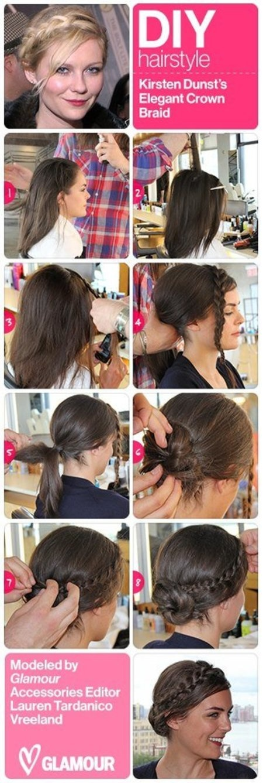 DIY Kirsten Dunst Crown Braid from Glamour!! See more hair looks on http://bellashoot.com (social beauty community)