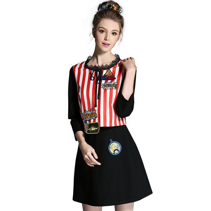 L- 5XL Autumn   Red Striped Short Dress 3/4 Sleeve Lace O neck Slim Cut   Mini  Vestidos WOW Visit us