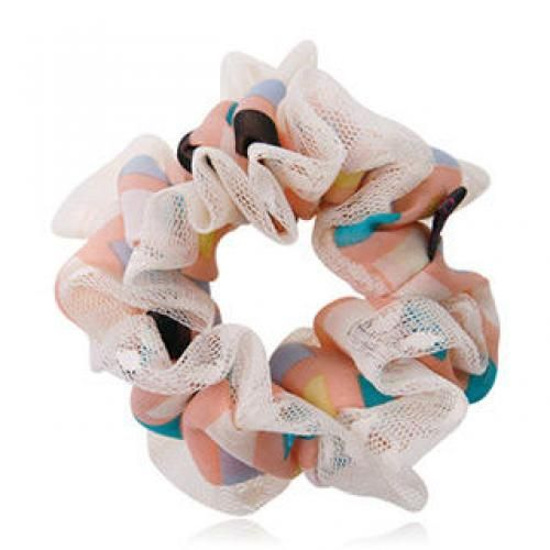 Mesh-Trim Printed Hair Tie Pink - One Size