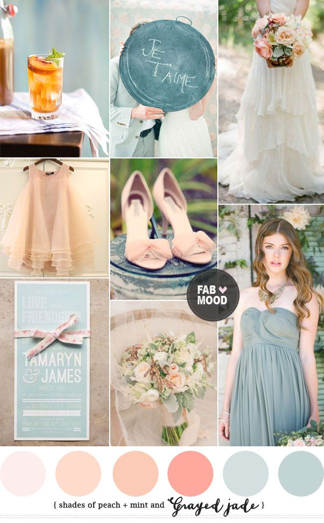 Shades of peach and grayed jade wedding | http://fabmood.com/peach-grayed-jade-wedding-colour-palette/