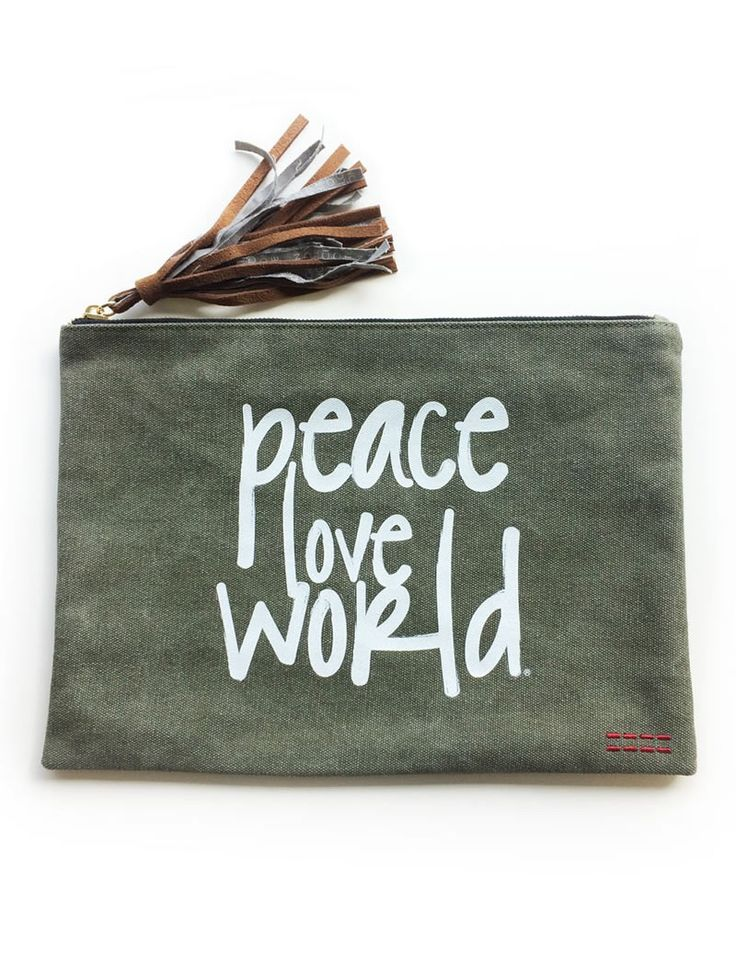 Peace Love World Forest Holly Clutch