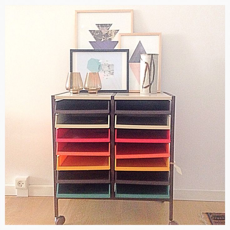 My latest flea market finds, retro mobile multi-colored drawers/organizer
