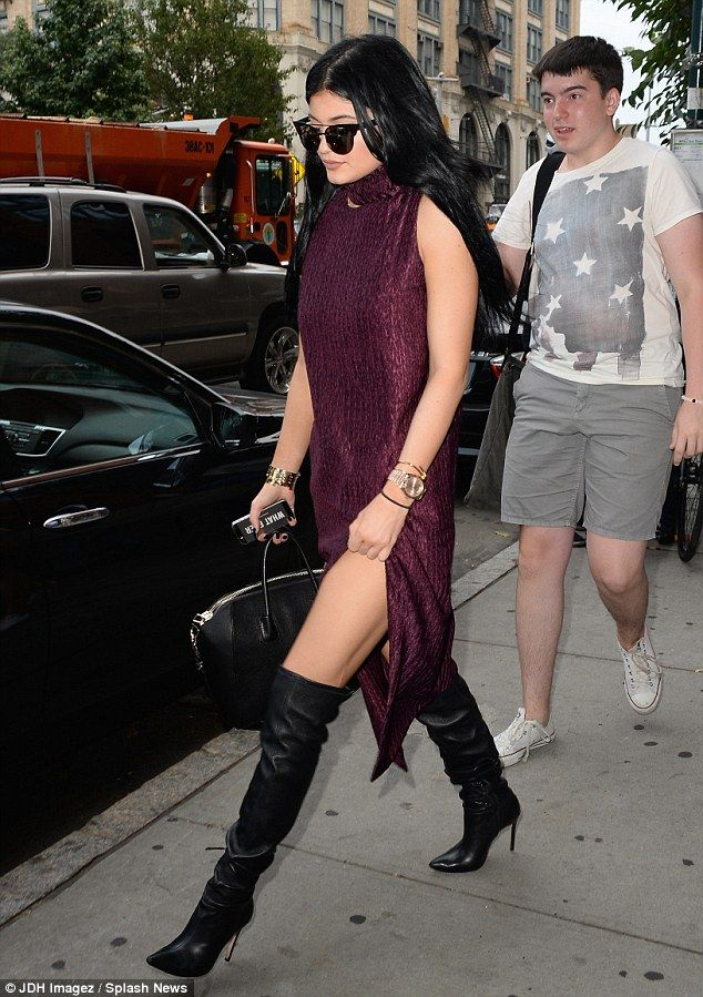 Model sister: Kylie has been out and about in the Big Apple as sister  Kendall walks the ru.