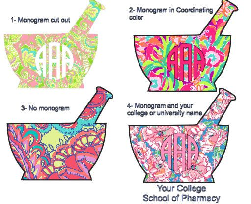 Mortar and Pestle Pharmacy School Tech Monogram Decal Lilly Pulitzer Inspired 4 inches by BelleAndIvie on Etsy