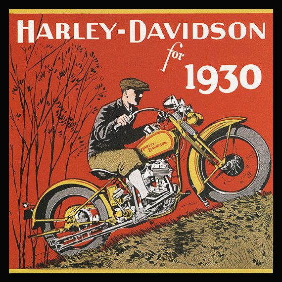 Harley-Davidson Vintage Motorcycle Rider 1930 Digital Reproduction  -   8 x 8 Print