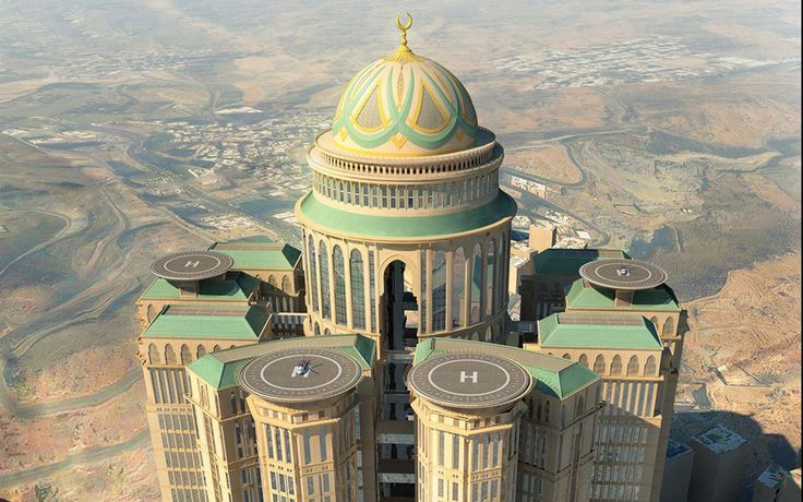 Mecca Hotel, projeto saudita, tipicamente megalomaníaco, com 10 mil quartos, 70 restaurantes e 4 helipontos, previsto para ser inaugurado em 2018.