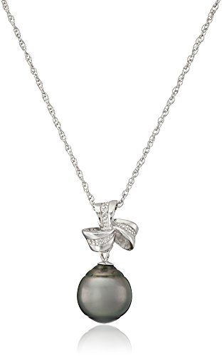 """Sterling Silver Tahitian Cultured Black Pearl and Diamond Ribbon Pendant Necklace, 18\"""" * Learn more by visiting the image link."""