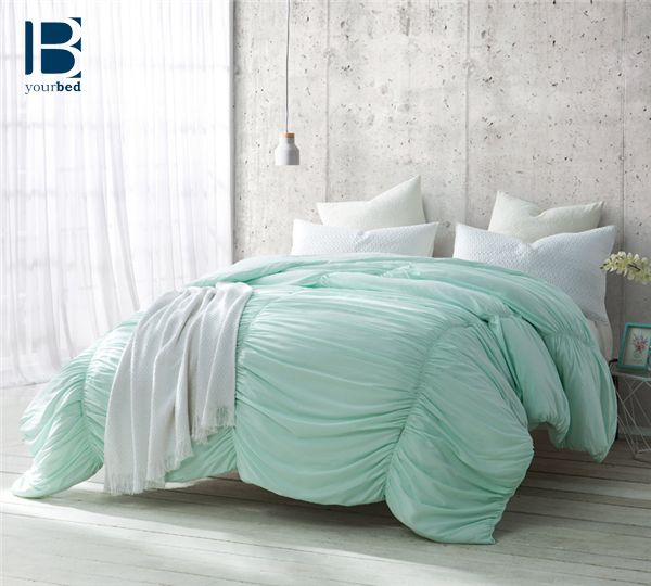 Add a pop of color to your #bedroom with the #BYB Hint of Mint Waves Comforter! A subtle hint of minty color can bring life to any room. #Mint_Bedding #Mint_Comforter #Pastel_Bedding #Pastel_Comforter #Cute_Comforter #Light_Comforter #Popular_Bedding #Best_Comforter #Bedding_2017 #Ruched_Comforter #Ruched_Bedding #Cozy_Comforter #Beautiful_Bedding