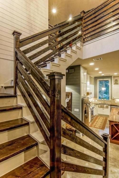 Basement Handrail Ideas   Rustic staircase, Stair railing ...