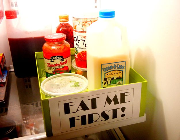 "Create an ""Eat Me First Box"" in the fridge to help keep items from expiring. This site has 27 new Ideas to keep your fridge clean and organized"