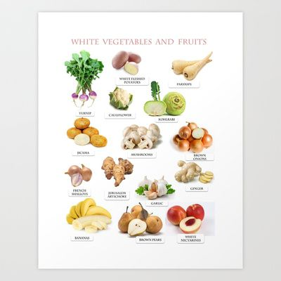 White Fruits and Vegetables Art Print by Gabriela Tardea - $17.56