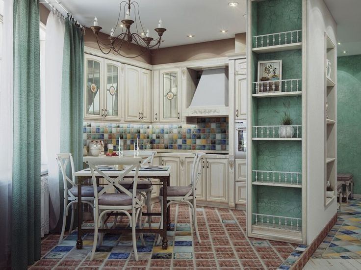 Kitchen Designs:Traditional Kitchen Design In Odd Shaped And Small Space With Colorful Wall Tiles And Floor 11 Luxury Traditional Kitchen Thoughts