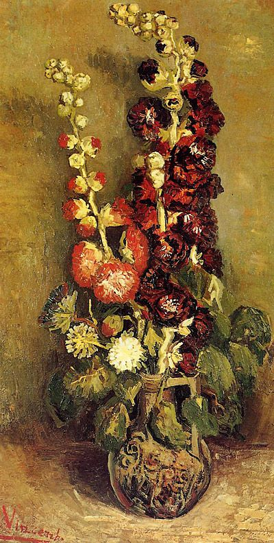 Vase with Holyhocks,  Vincent Van Gogh.Vincent Of Onofrio, Hollyhocks, Vincent Vans Gogh, Art Prints, Vases, 1886, Canvas, Vincentvangogh, Vincent Van Gogh