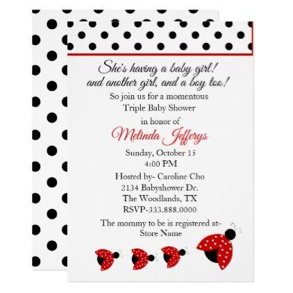 Ladybugs Triplets Baby Shower Invitation - patterns pattern special unique design gift idea diy