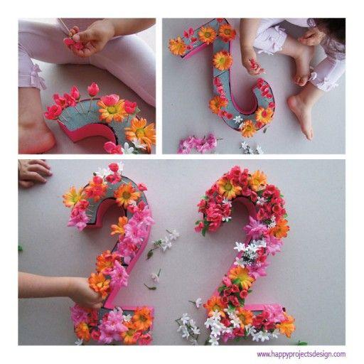 Números con flores. Un diy para decorar tu vida. Fotos de ©happyprojects.