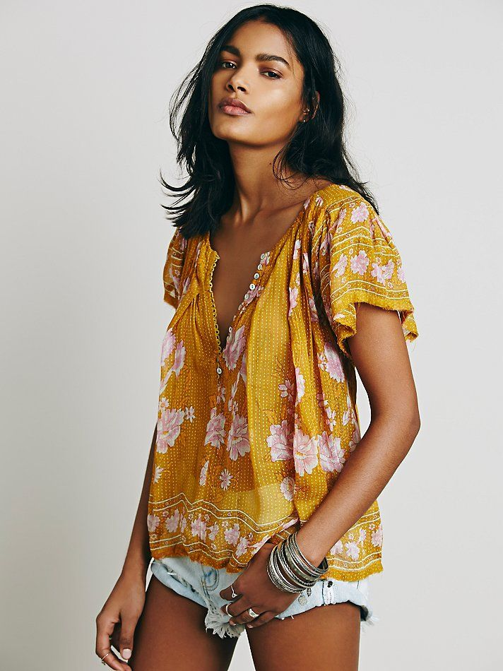 FP One Short Sleeve Printed Peasant Top at Free People Clothing Boutique