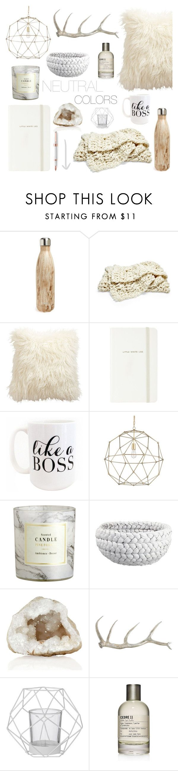 """""""Neutrals"""" by southernpearldesigns ❤ liked on Polyvore featuring interior, interiors, interior design, home, home decor, interior decorating, S'well, Ethan Allen, Kate Spade and Moon and Lola"""