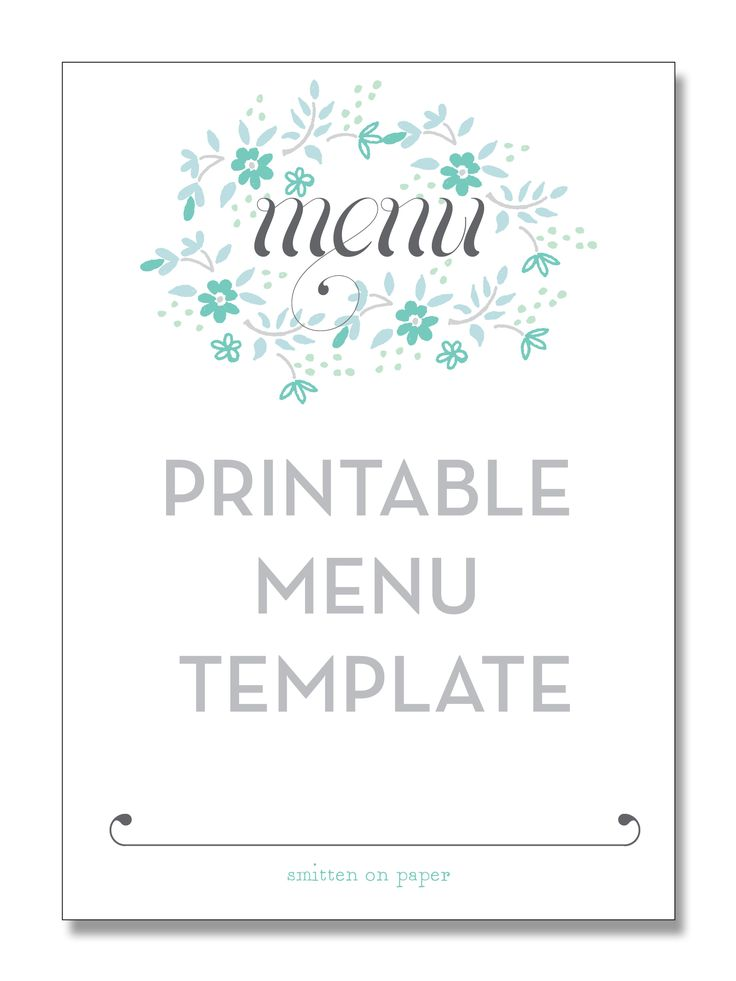 Printable Menu Templates  NinjaTurtletechrepairsCo