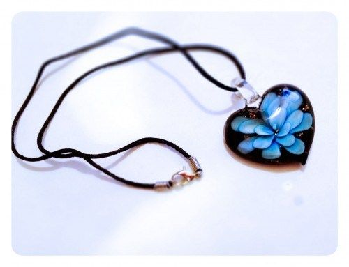 15 best lampwork murano glass pendants images on pinterest glass briar heart bloom blue murano glass pendant necklace one of a kind mozeypictures Image collections
